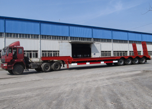14.5m 80T Low Bed Semi Trailer with 4 Axles for Super Heavy Construction Machine ,Low Bed Trailer