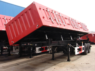 26cbm Dump Semi-trailer with 2 BPW axles and hydraulic Side Discharge system for 30 Tons