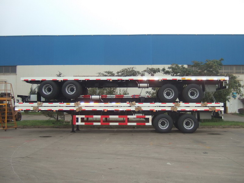 40ft 2 Axles FlatBed Container Semi Trailer for Light 40ft Containers