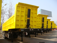 42 cbm Dump Semi-trailer with 3 BPW axles and hydraulic rear Discharge system for 60 Tons