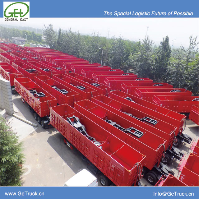Side hydraulic dump semi-trailer train from 14m to 44m capacity from 60 tons to 200T
