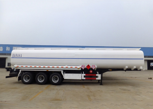 42000L Carbon Steel Tanker Semi Trailer with 3 Compartments And Super Single Tire for Tanzania,Refuel Carbon Steel Tanker Trailer