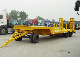 10m 30T Draw Bar Low Bed Full Trailer with 3 Axles for Small Machine And Army Weapon Transit,Low Bed Trailer