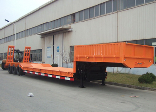 13m 70T Fixed Gooseneck ( FGN ) Low Bed Semi Trailer with 3 Axles And Tire Exposed for Super Heavy Machine ,Low Bed Trailer