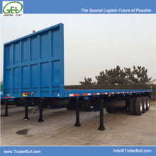 40 Foot 3 axles FlatBed Semi Trailer with Front Wall