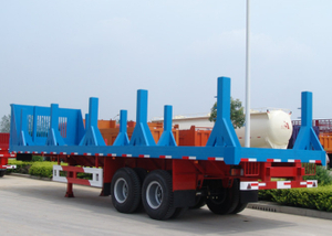 30ft FlatBed Semi Trailer with Strengthen Pillars for Steel Coil Transportation