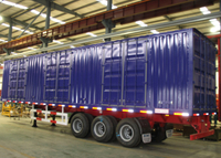 50ft Closed Steel Dry Freight Box Trailer with 3 Axles for Bulk And Case Packed Cargos,Drop Side Semi Trailer , Steel Box